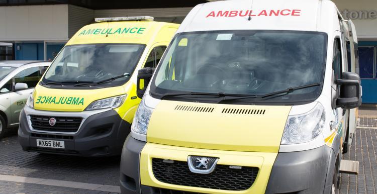 Ambulances parked at hospital
