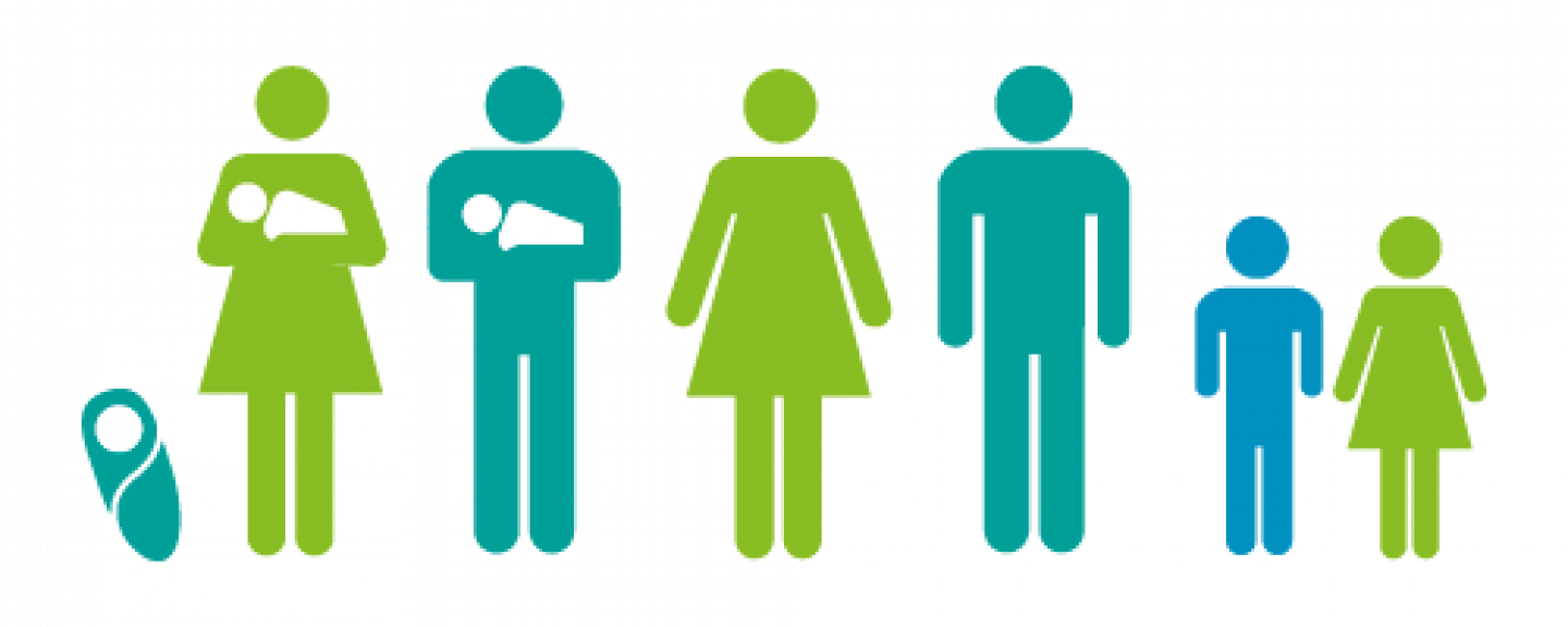 group of parents and children graphic