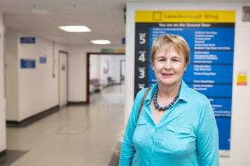 woman in hospital corridor