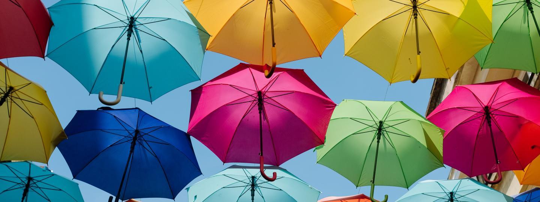 rainbow coloured umbrellas