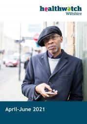 Quarterly report April-June 2021 front cover with photo of man holding phone